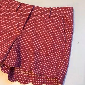 Ann Taylor Shorts - NWOT Ann Taylor Signature Pink/White Scallop Short